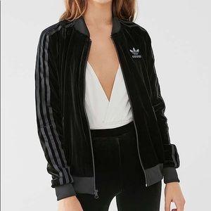 Adidas black velour jacket